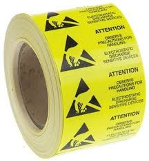 ESD Warning Label 10 x 25mm Self adhesive